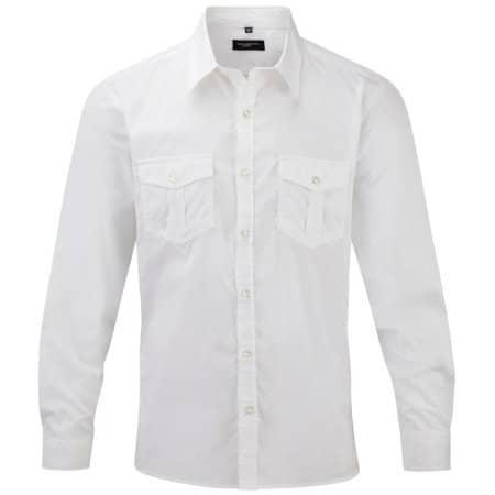 Men`s Roll Long Sleeve Twill Shirt in White von Russell Collection (Artnum: Z918