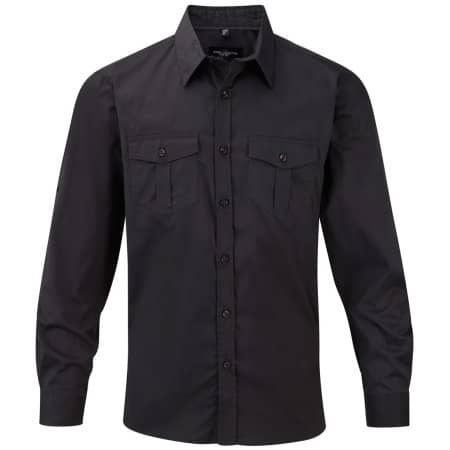 Men`s Roll Long Sleeve Twill Shirt in Zinc von Russell Collection (Artnum: Z918