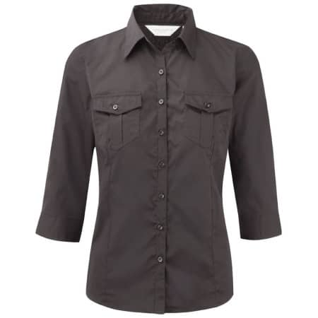 Ladies` Roll 3/4 Sleeve Twill Shirt von Russell Collection (Artnum: Z918F