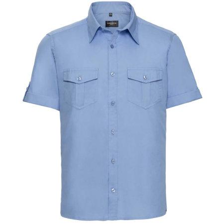 Men`s Roll Short Sleeve Twill Shirt in Blue von Russell Collection (Artnum: Z919
