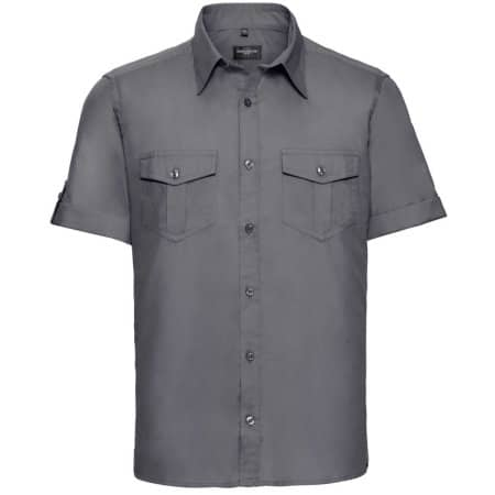 Men`s Roll Short Sleeve Twill Shirt in Zinc von Russell Collection (Artnum: Z919