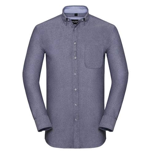 Russell Collection - Men`s Long Sleeve Tailored Washed Oxford Shirt