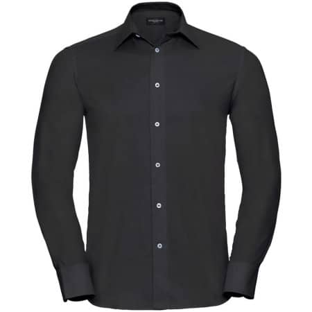 Men`s Long Sleeve Tailored Oxford Shirt von Russell Collection (Artnum: Z922