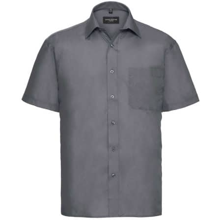 Men`s Short Sleeve Polycotton Poplin Shirt in Convoy Grey von Russell Collection (Artnum: Z935