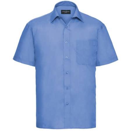 Men`s Short Sleeve Polycotton Poplin Shirt in Corporate Blue von Russell Collection (Artnum: Z935