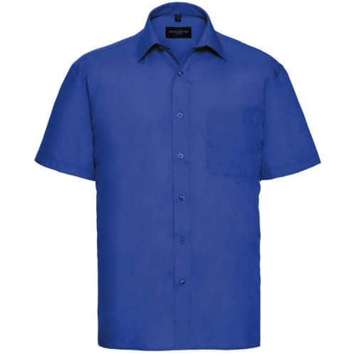 Russell Collection - Men`s Short Sleeve Polycotton Poplin Shirt