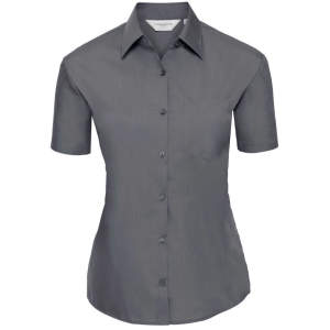 Ladies` Short Sleeve Polycotton Poplin Shirt