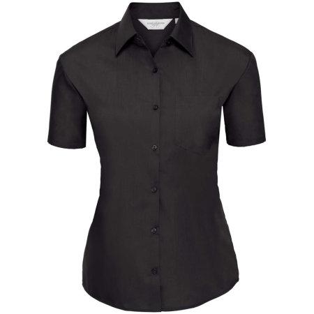 Ladies` Short Sleeve Polycotton Poplin Shirt in Black von Russell Collection (Artnum: Z935F