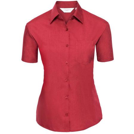 Ladies` Short Sleeve Polycotton Poplin Shirt in Classic Red von Russell Collection (Artnum: Z935F
