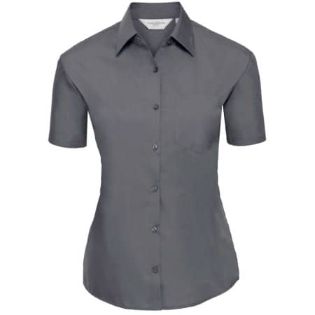 Ladies` Short Sleeve Polycotton Poplin Shirt von Russell Collection (Artnum: Z935F