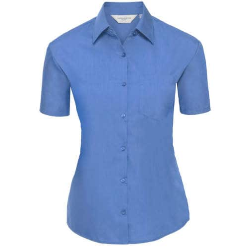Russell Collection - Ladies` Short Sleeve Polycotton Poplin Shirt