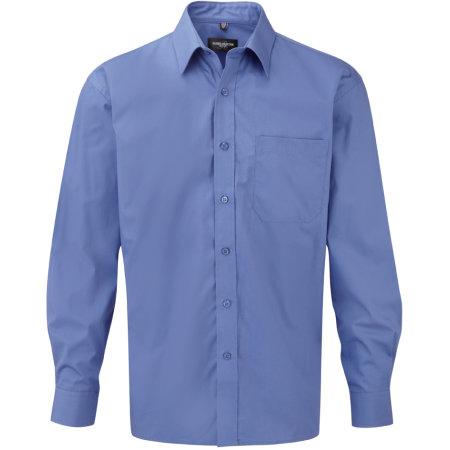 Men`s Long Sleeve Pure Cotton Poplin Shirt in Aztec Blue von Russell Collection (Artnum: Z936