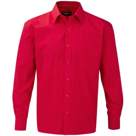 Men`s Long Sleeve Pure Cotton Poplin Shirt in Classic Red von Russell Collection (Artnum: Z936