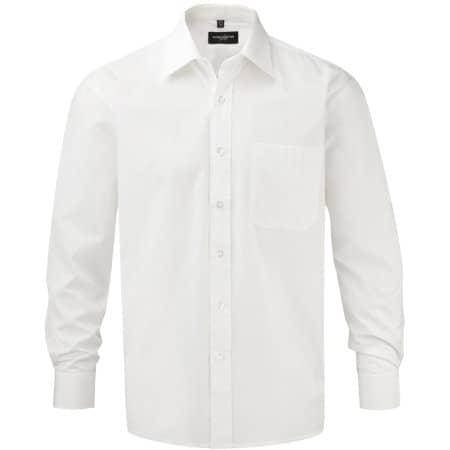 Men`s Long Sleeve Pure Cotton Poplin Shirt in White von Russell Collection (Artnum: Z936