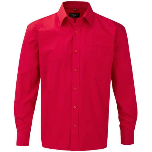 Russell Collection - Men`s Long Sleeve Pure Cotton Poplin Shirt