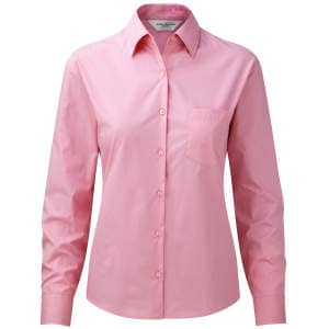 Ladies` Long Sleeve Pure Cotton Poplin Blouse
