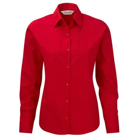 Ladies` Long Sleeve Pure Cotton Poplin Blouse in Classic Red von Russell Collection (Artnum: Z936F