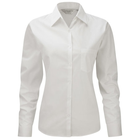 Ladies` Long Sleeve Pure Cotton Poplin Blouse in White von Russell Collection (Artnum: Z936F