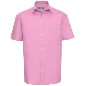 Men`s Short Sleeve Pure Cotton Poplin Shirt