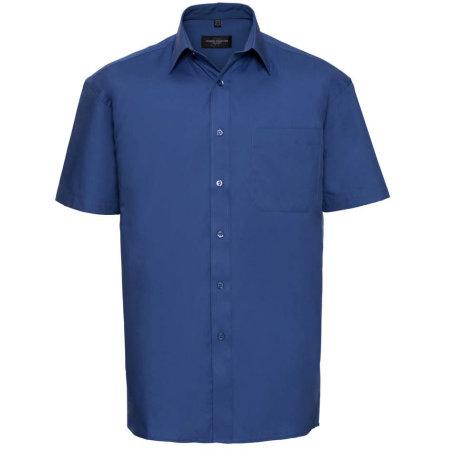 Men`s Short Sleeve Pure Cotton Poplin Shirt in Aztec Blue von Russell Collection (Artnum: Z937