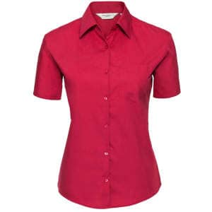 Ladies` Short Sleeve Pure Cotton Poplin Shirt