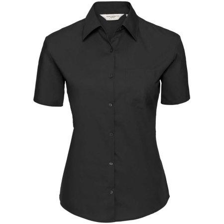 Ladies` Short Sleeve Pure Cotton Poplin Shirt in Black von Russell Collection (Artnum: Z937F