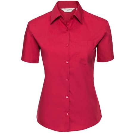 Ladies` Short Sleeve Pure Cotton Poplin Shirt in Classic Red von Russell Collection (Artnum: Z937F