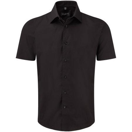 Men`s Short Sleeve Fitted Shirt in Black von Russell Collection (Artnum: Z947