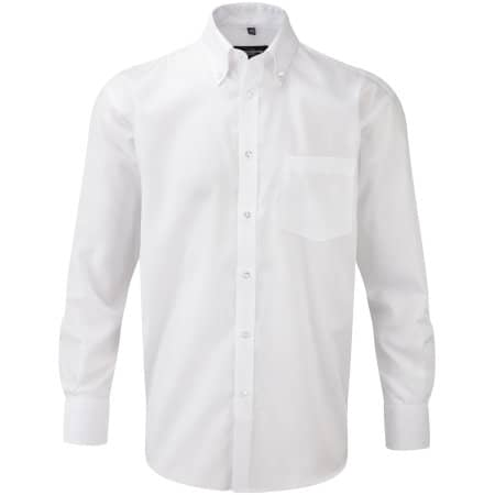 Men`s Long Sleeve Ultimate Non-Iron Shirt in White von Russell Collection (Artnum: Z956