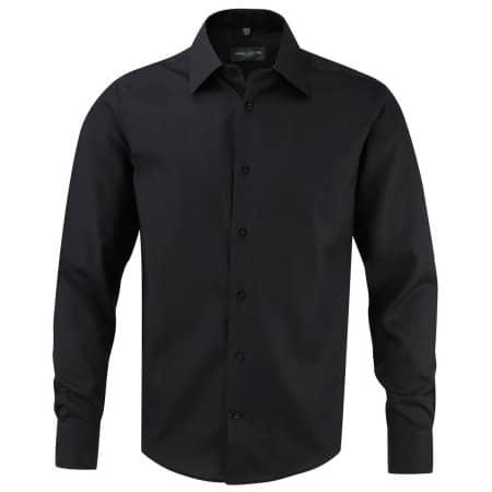Men`s Long Sleeve Tailored Ultimate Non-Iron Shirt in Black von Russell (Artnum: Z958