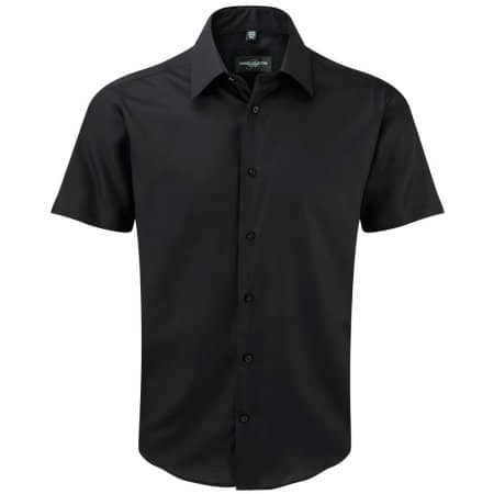 Men`s Short Sleeve Tailored Ultimate Non-Iron Shirt in Black von Russell Collection (Artnum: Z959
