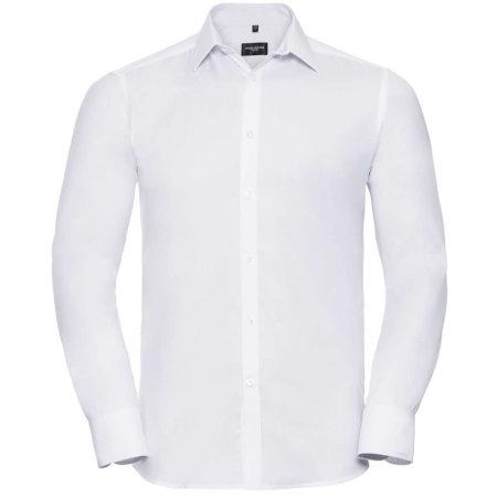 Men`s Long Sleeve Herringbone Shirt in White von Russell Collection (Artnum: Z962