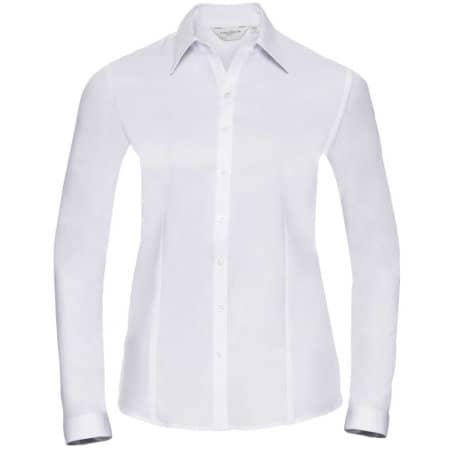 Ladies` Long Sleeve Herringbone Shirt in White von Russell Collection (Artnum: Z962F