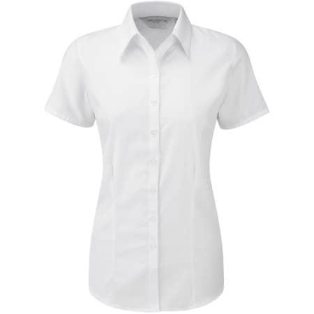 Ladies` Short Sleeve Herringbone Shirt in White von Russell (Artnum: Z963F
