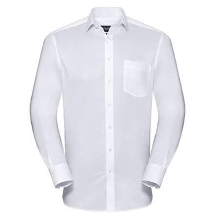 Men`s Long Sleeve Tailored Coolmax® Shirt in White von Russell Collection (Artnum: Z972