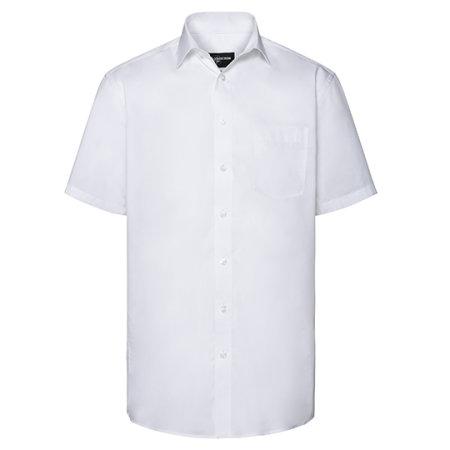 Men`s Short Sleeve Tailored Coolmax® Shirt in White von Russell Collection (Artnum: Z973